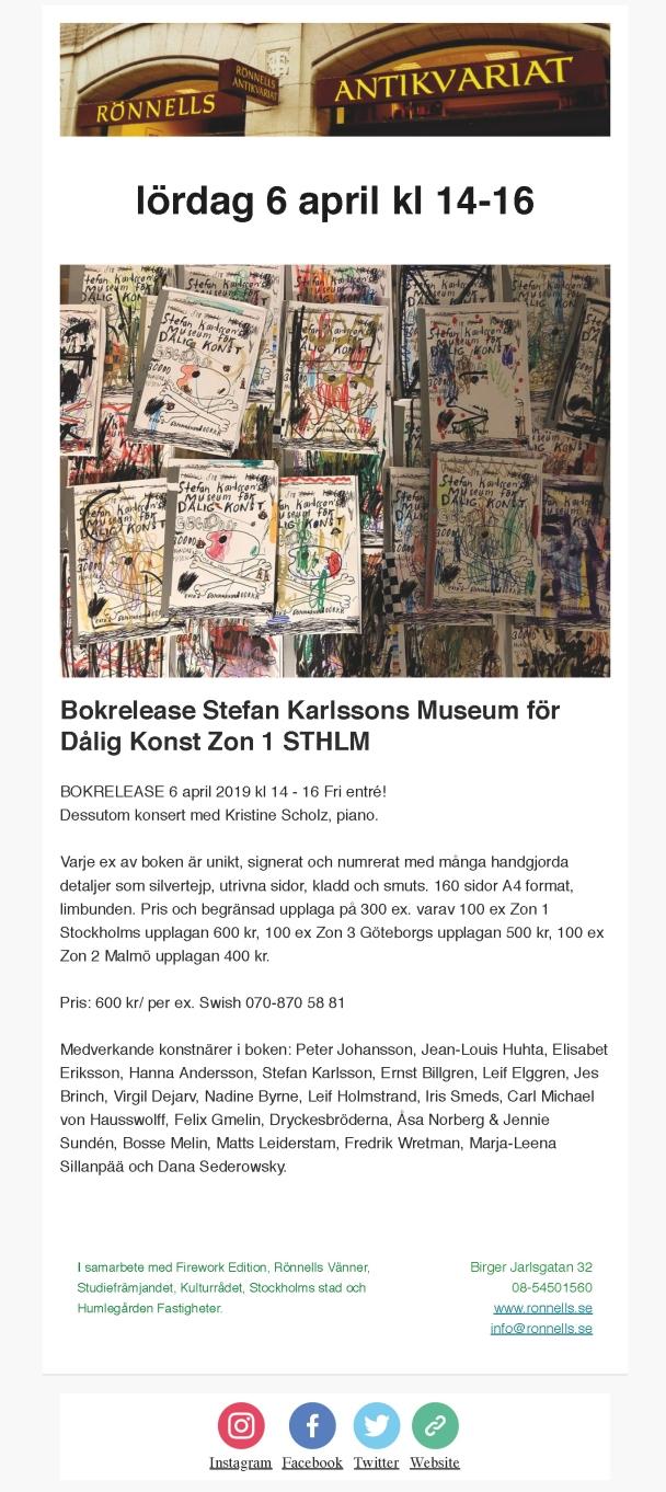 Bokrelease Stefan Karlssons Museum för Dålig Konst Zon 1 STHLM